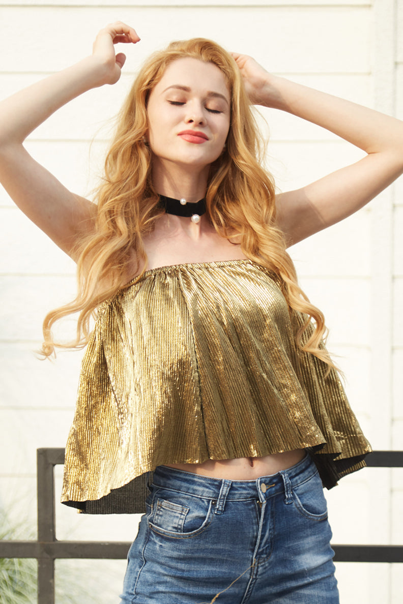 Light it Up Metallic Tube Crop - Tops Crop Party - Kerkés Fashion