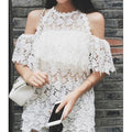 Lost In Lace Cutout Shoulder Top - Tops - Kerkés Fashion