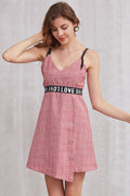 Love Waist Asymmetric Grid Dress