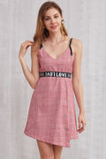 Love Waist Asymmetric Grid Dress - Dresses Casual Party valentine LOVE - Kerkés Fashion