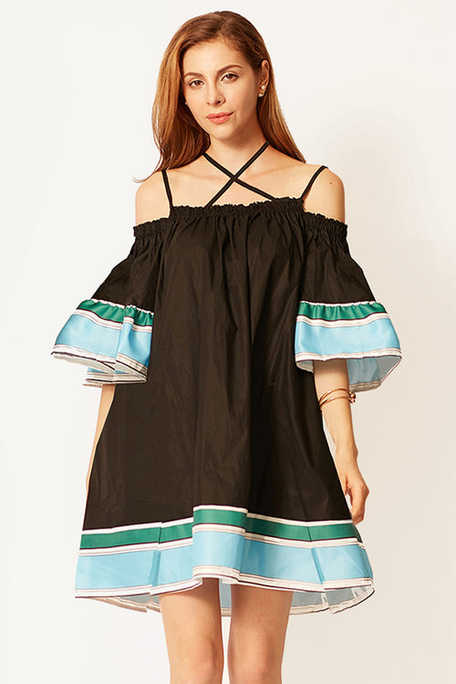 Maria Stripe Cold Shoulder Dress
