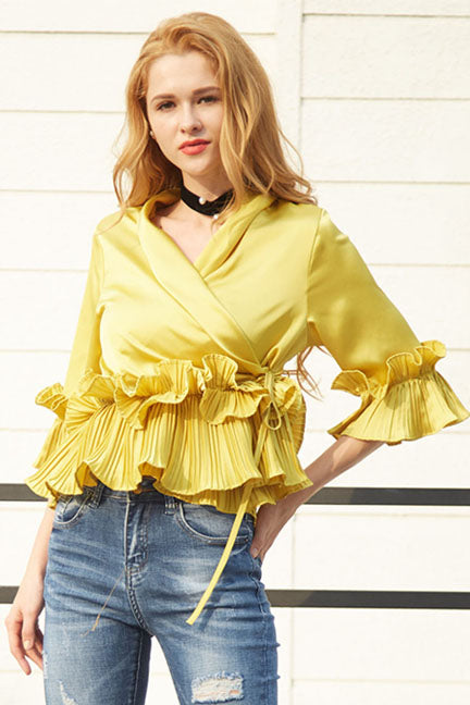 Mellow In Yellow Wrap-around Top - Tops casual party - Kerkés Fashion
