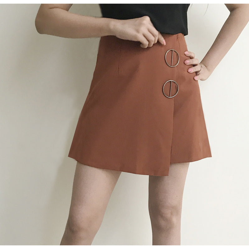 Metal Button Overlap Skirt