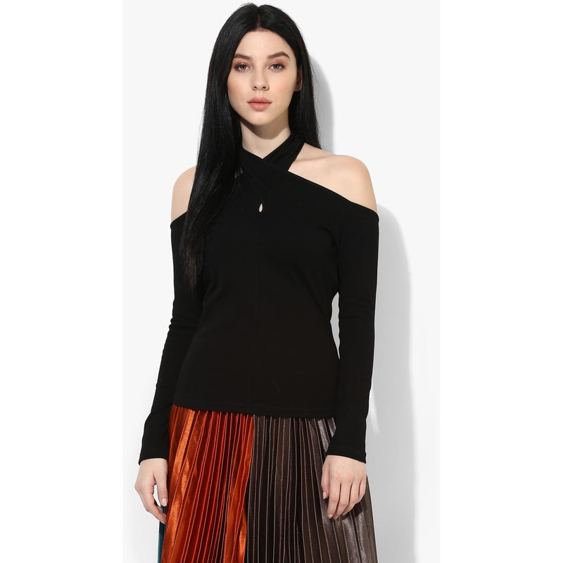 Black Magic Cutout Shoulder Top - Tops - Kerkés Fashion