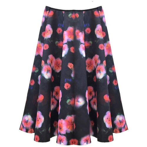Misty Floral Neoprene Midi Skirt - Skirts - Kerkés Fashion