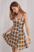 Myra Eyelet Strap Mustard Grid Dress - Dresses Casual Party - Kerkés Fashion