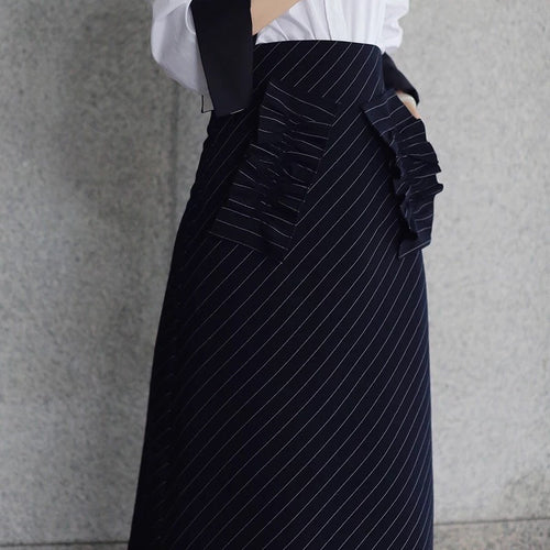 Ría Ruffle Pocket Pinstripe Skirt - Skirts - Kerkés Fashion