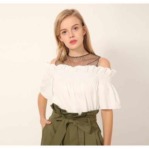 Myra Mesh Cutout Shoulder Top - Women Tops - Kerkés Fashion