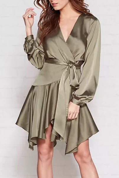 Sarin Satin Wrap Dress - Dresses Party - Kerkés Fashion