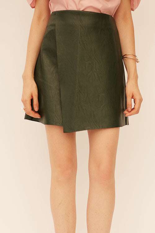 Overlap Leather Skirt - Skirts - Kerkés Fashion