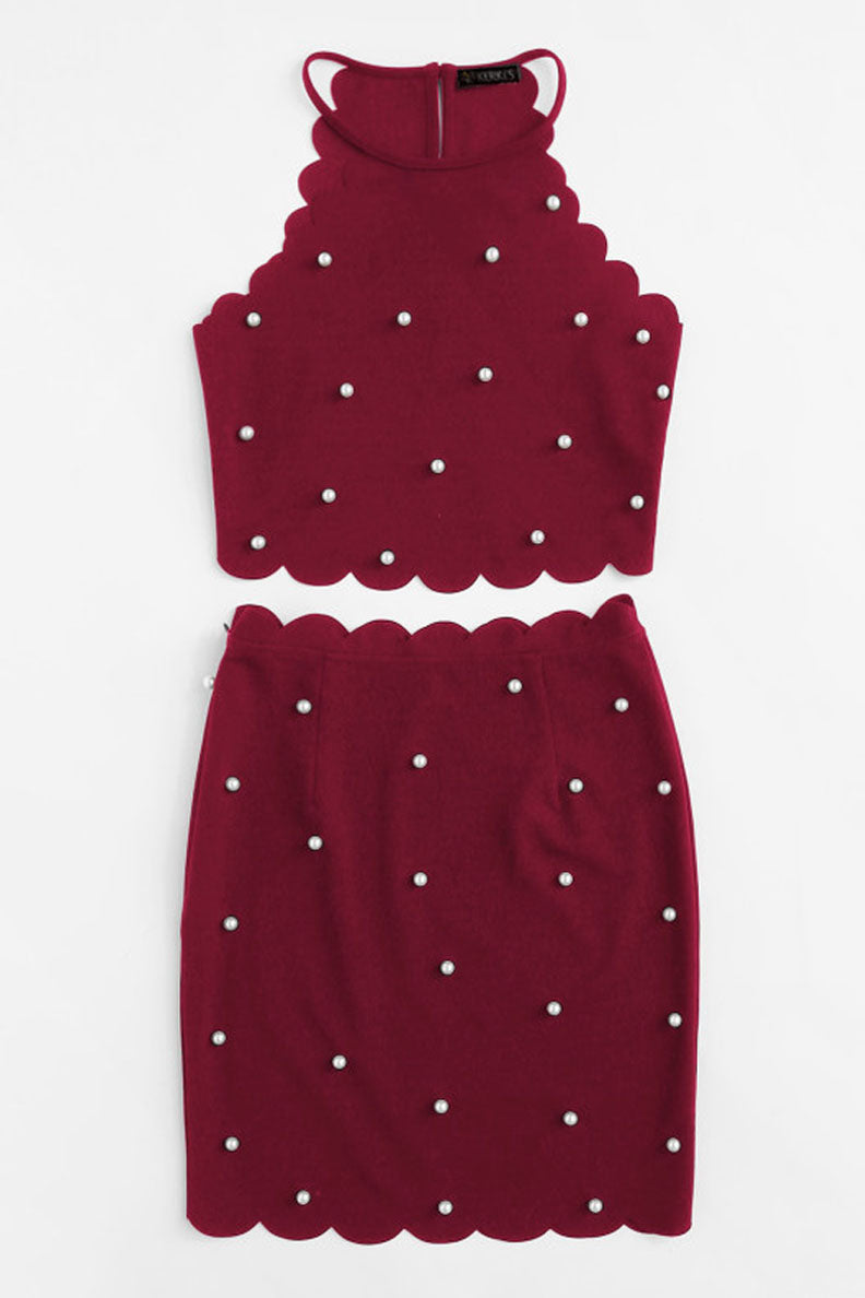Pearled Scallop Cutout Co-ord Set - co-ords valentine - Kerkés Fashion