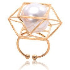 Pearl In Cage Finger Ring - Finger Rings - Kerkés Fashion