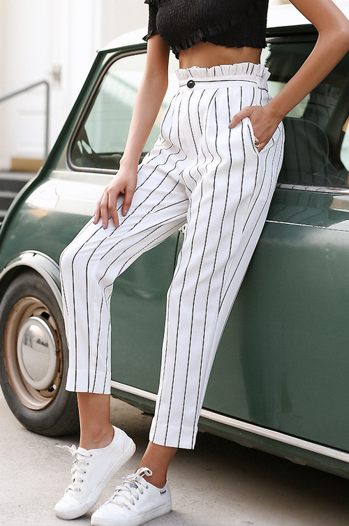 Pinstripe Cropped Pants - culottes trousers - Kerkés Fashion