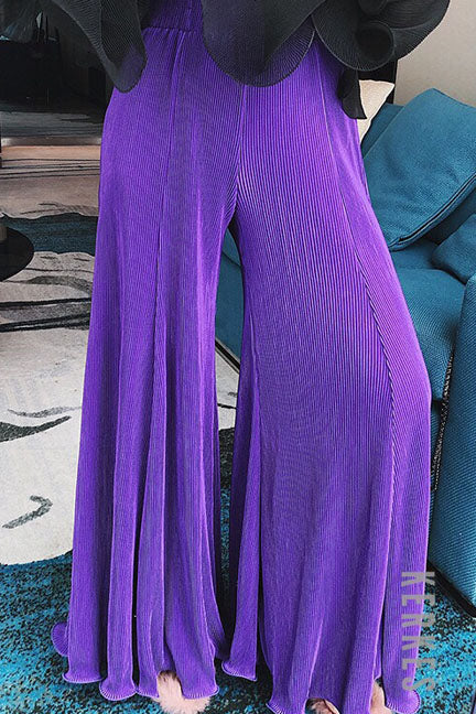 Slay it in Ultraviolet Wide Leg Pants - Trousers - Kerkés Fashion