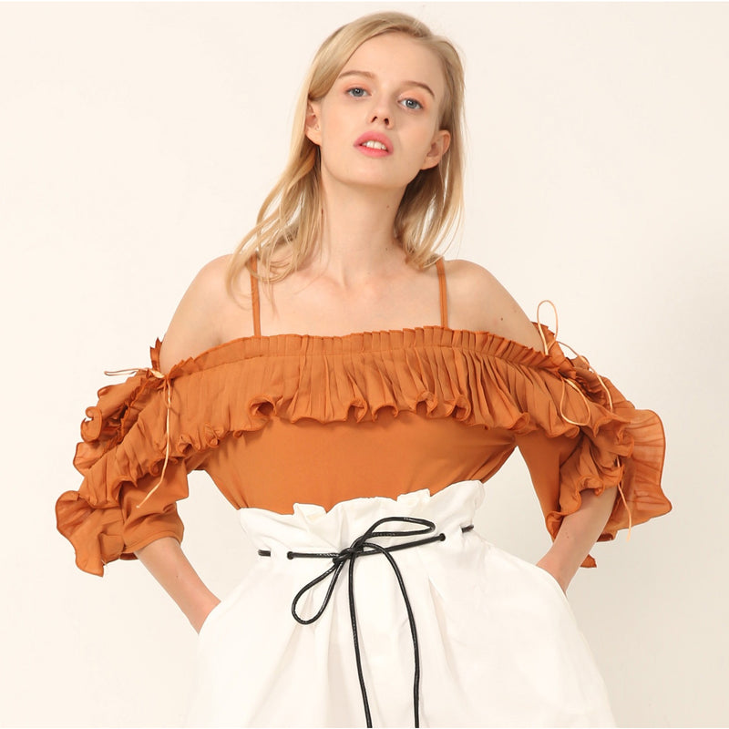 Raisa Rust Ruffled OffShoulder Top - tops - Kerkés Fashion