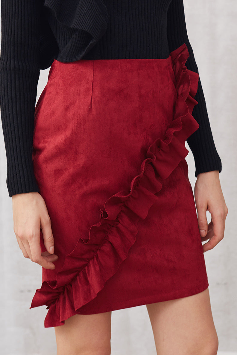 Rolls Of Ruffle Suede Skirt