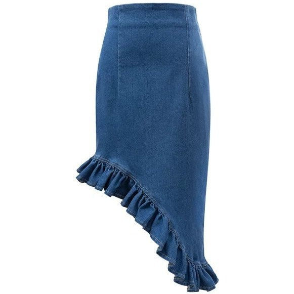 Ruffled Asymmetric Denim Skirt - Skirts - Kerkés Fashion
