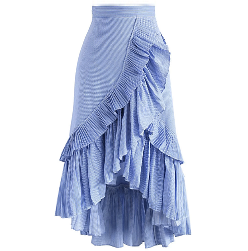 Raena Ruffle Stripe Skirt