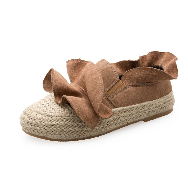 Ruffle Suede Espadrilles - women shoes - Kerkés Fashion