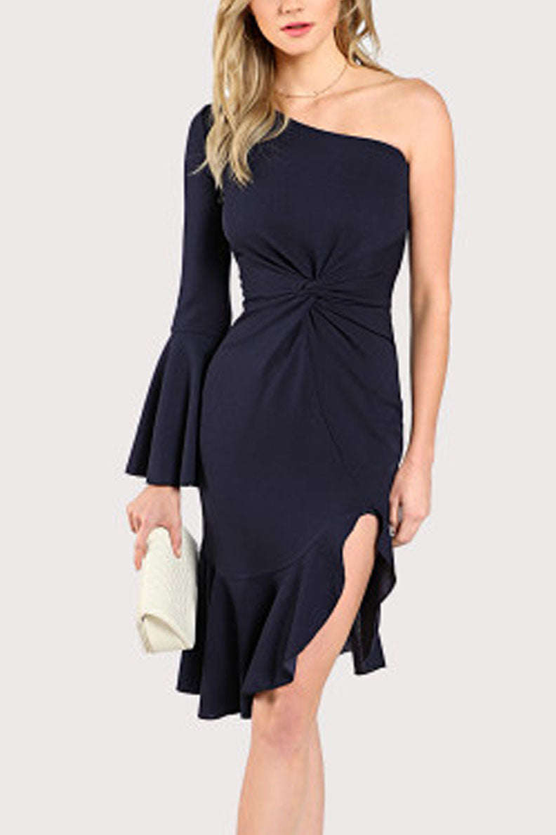 Rachel Ruffle Knotted One-armed Dress - Dresses Casual Party - Kerkés Fashion