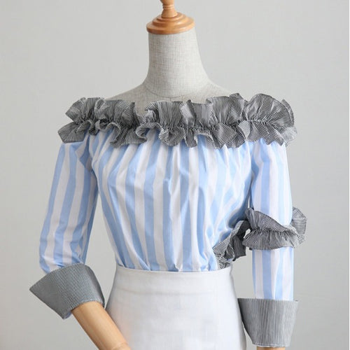 Ronia Ruffle Stripe Off Shoulder Top - Tops - Kerkés Fashion