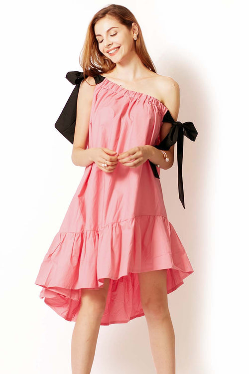 Jolly Bow Strap Uneven Dress - Dresses Casual Party - Kerkés Fashion
