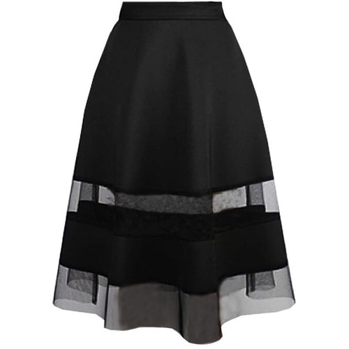 Sheer Paneled Neoprene Midi Skirt - Skirts - Kerkés Fashion