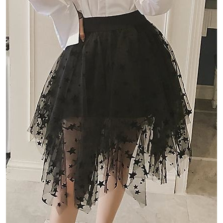 Starry Night Asymmetric Mesh Skirt