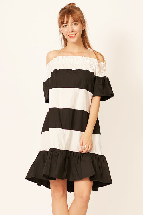 Siena Stripe Off Shoulder Dress