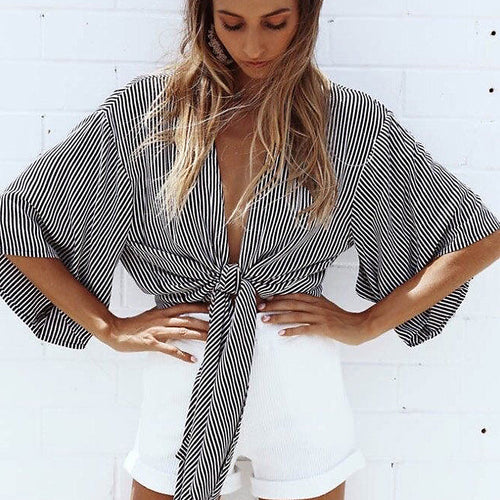 Stripe Tie-the-knot Top