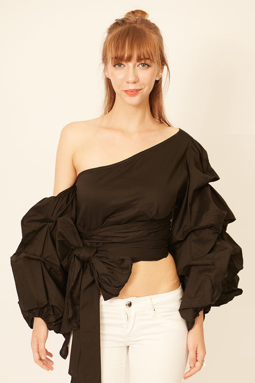 Super Puff Sleeve One Shoulder Top - Tops Party - Kerkés Fashion