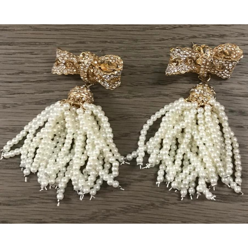 Bows & Pearls Tassel Earrings - Earrings - Kerkés Fashion