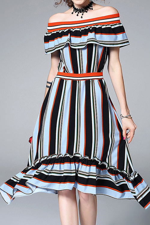 Seira Stripe Off Shoulder Dress