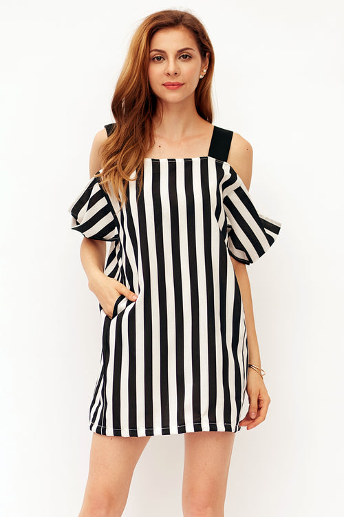 Sassy In Stripes Cold Shoulder Dress - Dresses Casual Party - Kerkés Fashion