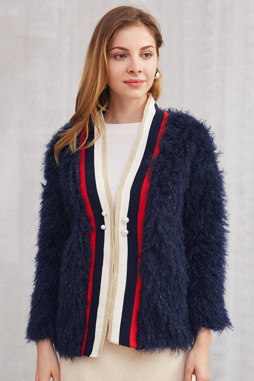 Stripe Fur Jacket - Jackets - Kerkés Fashion