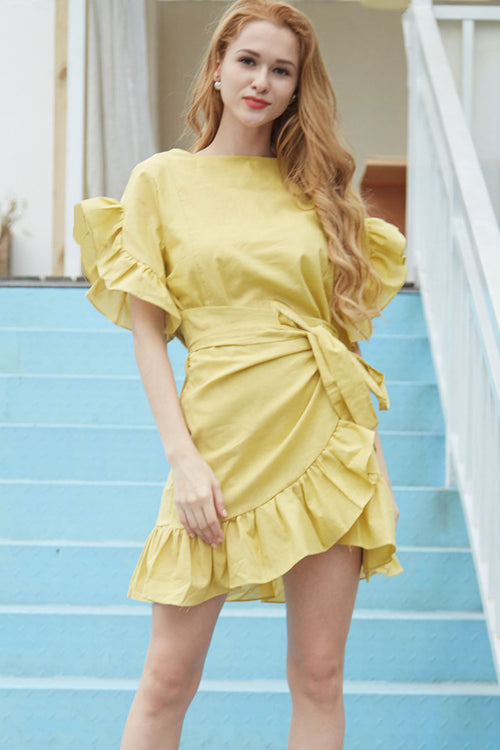 Wrapped In Sunshine Ruffle Dress - Dresses Casual Party Travel - Kerkés Fashion