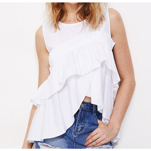 Ariana Asymmetric Ruffle Top - Tops casual - Kerkés Fashion