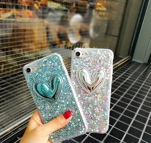Glitter Heart Phonecase - women phonecases - Kerkés Fashion