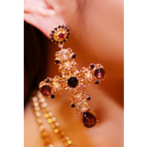 Crystal Drop Cross Earrings - Earrings - Kerkés Fashion