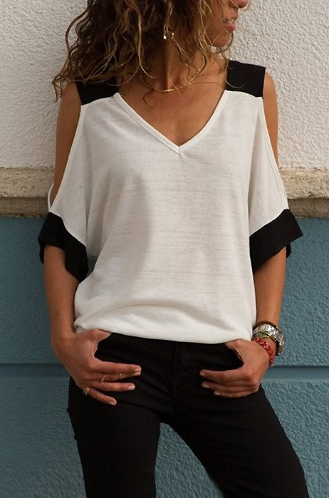 Kaly Cold Shoulder Tee - tops casual tee travel - Kerkés Fashion