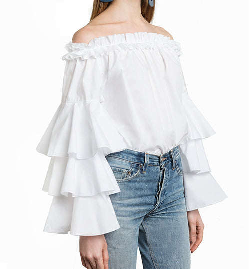 Tyra Tiered Sleeve Off Shoulder Top - Tops casual party - Kerkés Fashion