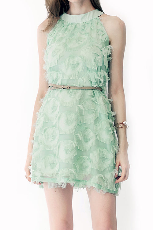 Minty Fringy Flare Dress - Dresses Casual Party - Kerkés Fashion