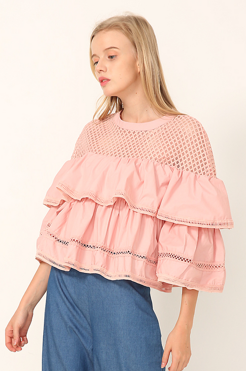 Raffia Ruffle Tiered Top - Tops casual crop - Kerkés Fashion