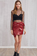 Bow-knot Vinyl Mini Skirt - Skirts shine - Kerkés Fashion