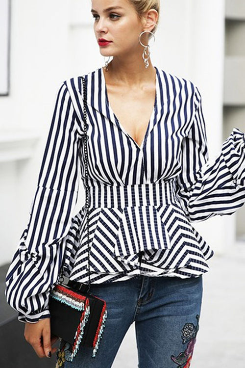 Modern Voyage Stripe Plunge Neck Top