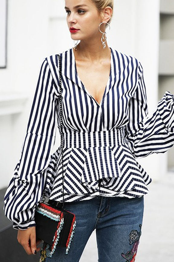 Modern Voyage Stripe Plunge Neck Top - Tops casual party - Kerkés Fashion