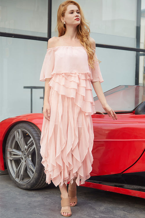 Angel Waterfall Ruffles OffShoulder Dress