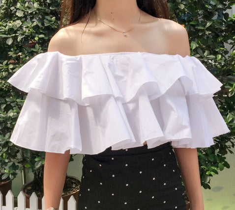 Riya Ruffle Tiered Crop Top