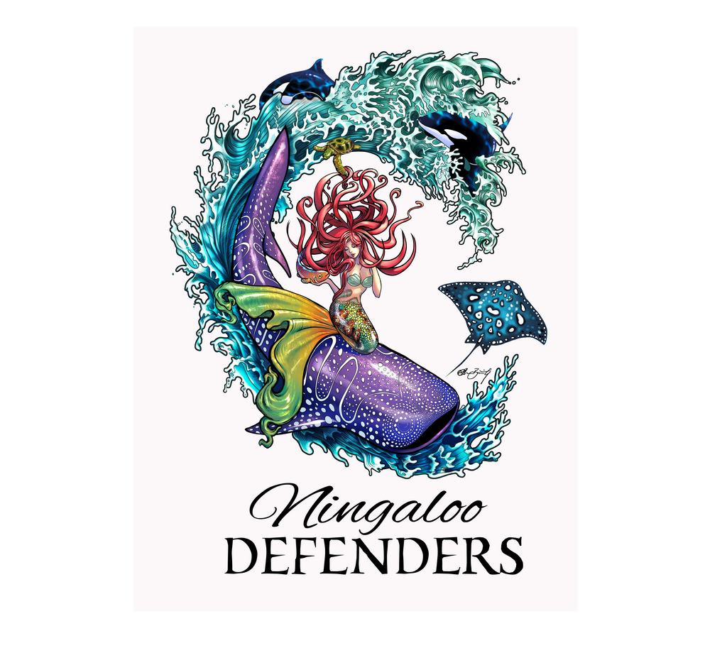 Outdoor Ningaloo Defenders Stickers - White / Black Turq - 150mm H x 120mm W
