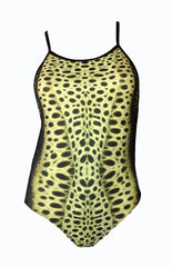 Australian Made - leopard Shark Print - Ladies One piece - 8mm straps - Chlorine Resistant